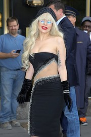 Lady Gaga finished off her head-turning look with a studded black turban.