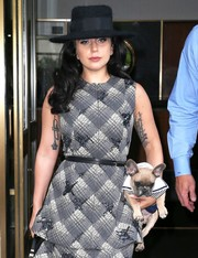 Lady Gaga was spotted out in New York City wearing a plaid top cinched in with a skinny belt.