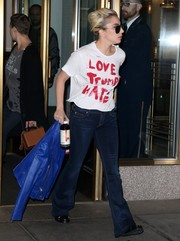 Lady Gaga went retro with a pair of flare jeans by Hudson.