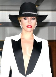 Lady Gaga stepped out in New York City wearing a bejeweled black cowboy hat.
