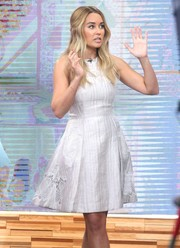 Lauren Conrad looked darling in a white fit-and-flare dress by Jonathan Simkhai during her 'Good Morning America' appearance.