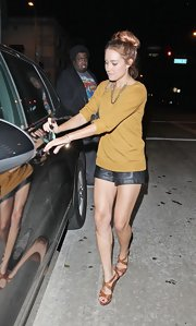 Lauren Conrad was chic while out and about in Hollywood in black leather shorts paired with tan strappy sandals.