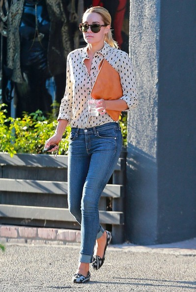 Lauren Conrad was casual-smart in a black-and-white printed button-down while out and about in West Hollywood.