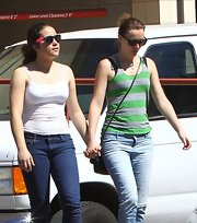 Leighton Meester sported a gray and green tank for a casual daytime look while out in LA with a friend.