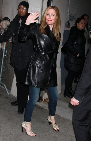 Leslie Mann Leather Coat
