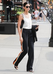 Lily Aldridge kept it relaxed in a loose white tank by Chloe while out and about in New York City.