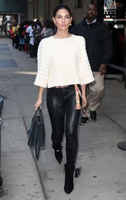 Lily Aldridge teamed a boxy white Isabel Marant knit top with black leather skinnies for a day out in New York City.