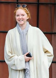 Lily Cole accessorized with a cool pair of round sunglasses while out and about in Manhattan.