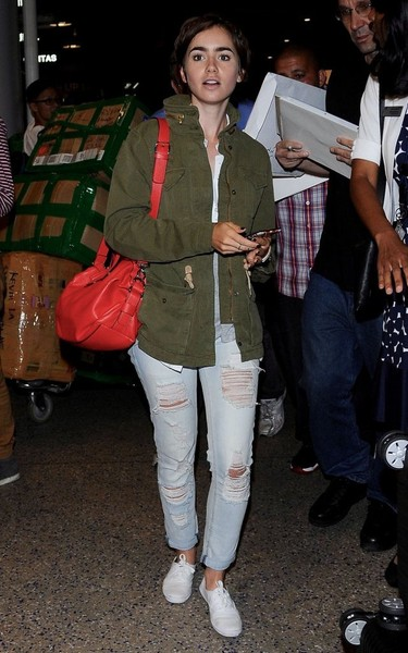 Lily Collins Military Jacket