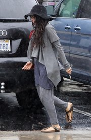 Lisa Bonet was out and about in Santa Monica wearing an all-gray ensemble, topped off with a draped cardigan.