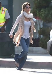 Lisa Rinna wore classic flare jeans for a boho-inspired look while out in Hollywood.