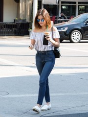Lucy Hale rocked the off-the-shoulder trend with this striped number by Bella Dahl while visiting Starbucks.