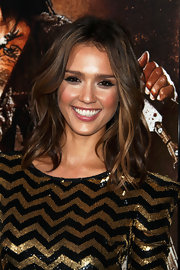 Jessica Alba showed off her flowing waves while hitting the premiere of 'Machete'.