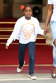 Mercy James was all about comfort in sleek white loafers as she left the Hotel Ritz in Paris.