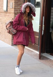 Malia Obama headed out in New York City all bundled up in a burgundy parka.