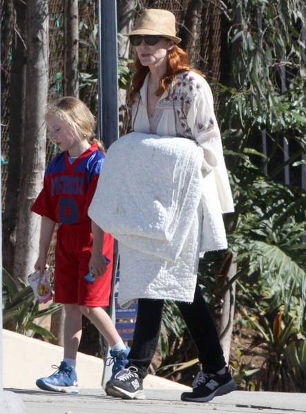 Marcia Cross Watching Her Daughter Play Football