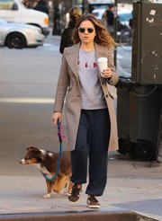 Margarita Levieva kept it super casual in jogging pants and a sweatshirt while walking her dog.