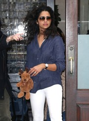Camila Alves topped off her daytime attire with a pair of Ray-Ban aviators.