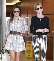 Eva Longoria was casual and cute in a plaid shirtdress while out and about with pal Melanie Griffith.