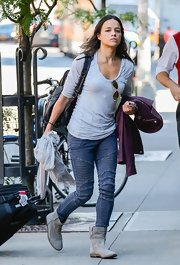 Michelle Rodriguez looked laid-back in textured jeans and a T-shirt as she arrived at her NYC hotel.