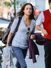 Michelle Rodriguez was dressed down in a long-sleeve gray T-shirt and jeans as she arrived at her NYC hotel.