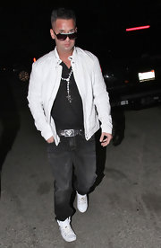Mike wears a leather belt with a superman buckle logo while out in Hollywood.
