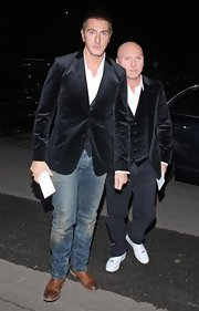 Stefano Gabbana paired his velvet blazer with a distressed pair of jeans.