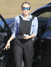 Miley Cyrus looked trendy in her mirrored blue wayfarers while out in Malibu.