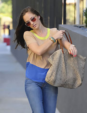 Minka Kelly was on-trend in a silky color-block blouse and jeans.