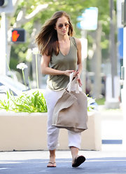 Minka Kelly shopped in Beverly Hills, CA while carrying an oversized beige canvas tote.