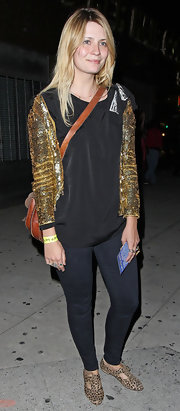 Mischa Barton gave her street wear a playful touch with leopard print brogues.