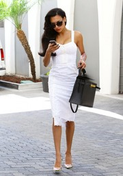 Naya Rivera turned heads in Beverly Hills in a sexy-sweet white eyelet corset dress.