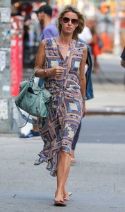 Nicky Hilton ran errands in NYC looking cool and chic in a sleeveless print dress.