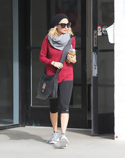 Nicole Richie punched up her workout attire with a red long-sleeve top.