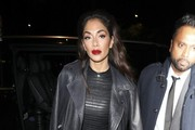 Nicole Scherzinger Leather Dress