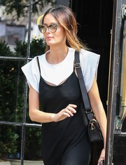 Nicole Trunfio headed out in New York City wearing a stylish pair of cateye sunglasses.