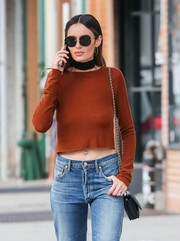 Nicole Trunfio shielded her eyes with a pair of round sunglasses while strolling in New York City.