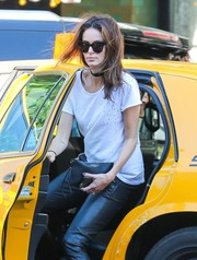 Nicole Trunfio went out and about in New York City carrying a black leather wristlet by Burberry.