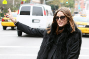 Olivia Palermo has lunch with a friend at Sant Ambroeus restaurant in the West Village, NYC. A bald headed guy tried to pick Olivia up for a future date but he didn't have much luck but she was a good sport about it. Then she hails and jumps into a cab... Mandatory credit: Brian Flannery/FlynetPictures.com