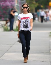 Olivia Wilde brought out another funny graphic tee. This time she sported a 'Paws' tee while out in NYC.