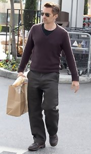 Olivier Martinez was seen out and about in Beverly Hills wearing a cozy V-neck sweater.
