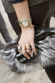 Brtiannique showed off a classic watch while making her way into the Louis Vuitton Spring 2011 fashion show.