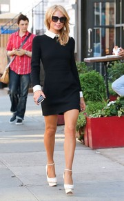 Wearing this chic collared LBD by Victoria Beckham, Paris Hilton made the streets of New York City her own personal catwalk.