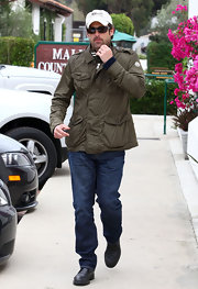 Patrick Dempsey kept his cool in an olive twill jacket.