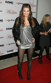 Rachel Mccord looked mesmerizing in her metallic silver mini dress at the Philippe West Hollywood grand opening.