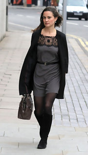 Pippa Middleton wore a gray silk dress with neckline macrame while out in London.