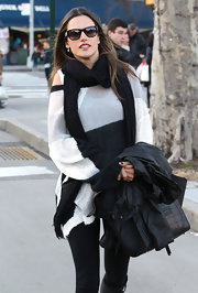 Alessandra Ambrosio bundled up in this black scarf while out for lunch in NYC.