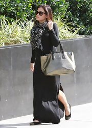 Jenna Dewan-Tatum accessorized a plain black maxi with a patterned scarf for a boho chic look while out in Hollywood.