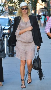 A pregnant Karolina Kurkova went boho in this star-print peasant dress while out and about in New York City.