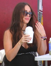 Megan Fox accessorized with pair of butterfly sunglasses by Thierry Lasry for a day out at the Farmers Market.